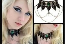 Gothic Jewellery / A selection of gothic jewellery including black lace chokers by Sinister and necklaces by Alchemy Gothic. We're always adding new releases and restocking old favourites