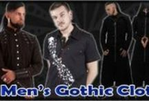 Men's Gothic Clothing / Gothic Clothes for Men: A selection of buckle and laced eyelet black cotton gothic trousers and longsleeve formal and pirate romantic shirts adorned with eyelets, cord lacing, ruffles and buckles. Also plain and printed short-sleeve workshirts and T-shirts. The Gothic Shop also sells men's gothic accessories including shirt cuff-links, trouser buckles and ties.