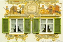 Luftel Paintings / In Bavaria, many buildings are painted with murals called Luftel paintings.  Often they depict some aspect of life in that particular town, and many are religious motifs.  Sometimes architectural designs are painted on to make a door or a window seem more than what it is.  Some are just plain embellishment.  I fell in love with these luftel paintings when I lived in Bavaria.  Gerhard Ester from Garmisch-Partenkierchen has painted and/or restored many of the paintings in the Garmisch area. / by Klasko