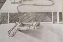 KLAS 2 BAKJE MET SLANG 2D / Opdracht: maak een bakje (dmv een uitslag). Teken deze na. Denk aan eigenschaduw en slagschaduw. (Waarneming). Verzin een voorwerp/dier/? met een langgerekte vorm. Je bepaalt de route die dit voorwerp maakt 'door' en langs je bakje!