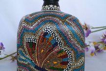 Botellas decoradas-Dreams&Rêves-Artesanía mexicana / Artesanía mexicana, botellas decoradas, pintado a mano, hecho a mano, handmade, botellas  pintadas, puntillismo, piezas únicas, point to point, pointillism
