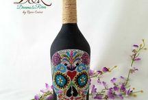 Puntillismo- Dreams&Rêves-Artesanía mexicana / Artesanía mexicana, hecho a mano, hecho en México, puntillismo, handmade, decorado a mano, piezas con técnica de puntillismo, botellas pintadas con puntillismo
