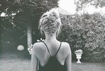 Hair messy top knot