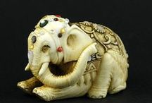 Netsuke / I give in.  I keep coming across such gorgeous examples, I must make a board.  (some okimono) / by Victoria Cooper