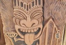 Raising The Bar / Take a closer look at the ornate tiki bar and stools carved by Ryan, Dean and Jacob. / by Timber Kings