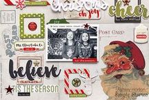 """Christmas Crafts / Christmas-themed paper crafts such as cards, and scrapbooks (using """"Simple Stories"""" products)."""