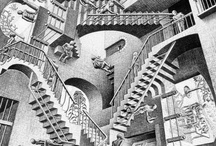 ::: ART /// M. C. Escher ::: / Dutch Graphic Artist --- Maurits Cornelis Escher (June 17, 1898 – March 27, 1972), usually referred to as M. C. Escher.  He is best known for his often mathematically inspired woodcuts, lithographs, & mezzotints. These feature impossible constructions, explorations of infinity, architecture, & tessellations... combining math & art - to create stunning visual patterns & illusions that play with our perception of reality.