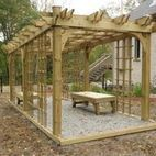CD³ Inc - Pergola with Bench Seats / Pergola was built to provide a private reading space. Matching hand built bench recliners provide a place to sit in this cozy reading space. Vines and plants will be planted to grow over the structure providing privacy.