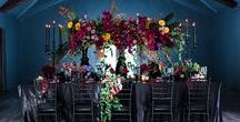 Luxury Bohemian Wedding Flowers - Purples and Reds / Luxury Bohemian Flowers, Boho wedding flowers, Marsala Wedding theme, purple orchids, black candles and dark flowers, reds, purples and gold.   Photographer: Genevieve Fundaro