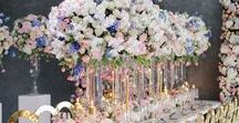 French Palatial Wedding Flowers / French Palace styled flowers, wedding flowers, roses, orchids, delphiniums, floral runners, flower wall