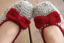 Crochet slippers and scarves