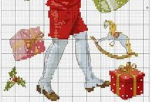 """X""""MAS CROSS STITCH  / EYE CANDY IN RED AND GREEN"""