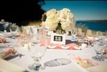 Table Arrangements @ The Edgewater House / The Edgewater House Beachfront wedding venue in Seattle Washington