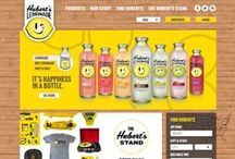 Hubert's Lemonade Stand / The official Hubert's Lemonade website introducing a specialized e-shop that allows users to buy branded gear using Hubert's promotional credits instead of money, a location based store locator and the usual brand and product information