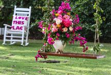 Bougainvillea Vintage Wedding / The Charm of a Home Wedding. The Fuchsia Bougainvillea that drapes over the Cottage Gazebo. Childhood play spaces all dolled up for  The Event of a Lifetime-perfectly juxtaposed with  Vintage China and rustic farm tables.