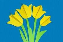 Jar - tulipány / námety - strihanie, tvorenie, maľovanie, vystrihovanie ...