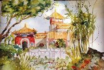 My Sketches / A collection of my sketches in different media.  Most done on site or plein air.  When I travel I always take a sketch book and my small watercolor travel kit. www.kimminichiell.com