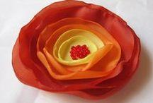 Flowers - fabric / fabric, ribbon, organza, T-shirts, jersey, satin, burlap e.t.c. / by Pawel Dolatowski