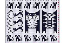 motivos para tejer o bordar / drawings with charts / diagramas y esquemas de motivos para bordar o tejer knitting, broderie or crochet drawings with charts