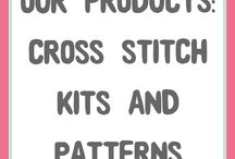 Products from Hannah Hand Makes Product / A board full of my products; modern and fun cross stitch patterns and kits. Perfect kits for beginners that make quick and easy projects you can fit in your busy life.