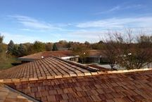 ARAC Alliance Restoration and Consulting Cedar Shake Roofing project / A 800 square cedar shake roofing project. Five buildings on one property using #1 blue label cedar shake shingles.