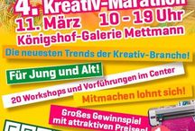 4. Mettmanner Kreativ-Marathon / Der 4. Mettmanner Kreativ-Marathon findet am 11.03.2017 von 10.00-19.00 Uhr in der Königshof-Galerie in Mettmann statt.  Die aktuellsten Trendthemen der Kreativ-Szene werden wir euch in kurzweiligen Workshops und Vorführungen vorstellen. Einfach vorbeikommen, Bon holen, hinsetzen und loslegen. Insgesamt werden wir ca. 20 verschiedene Workshops- und Vorführungen anbieten.  Der 4. Mettmanner-Kreativ Marathon wird wieder jede Menge kreative Unterhaltung und Workshops für Jung und Alt und Groß und Klein anbieten. Organisiert wird der 4. Mettmanner Kreativ-Marathon wie immer von Creative4Fun.