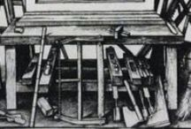 Period Woodworking workbenches / Images of woodworking workbenches up to the 17th Century