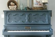 Painted old Pianos