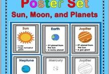 Solar System / science, planets, posters, word wall cards, Sun, Moon, Earth,