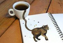 Coffee Cats / Découverte sur Behance, Elena Efremova - illustratrice russe - a combiné sa passion pour le dessin avec les chats : voici le Coffee Cat !
