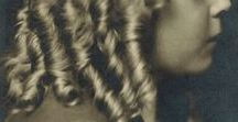 Sausage Curls / Also known as: Ringlets, drop curls, spiral, coils, corkscrew, drill and/or tube curls - There's so many photos depicting the Hairstyle!! So I pin only a specific age group, easy to see, with curls below shoulder length -- Victorian (1837-1901) edwardian (1901-10) ww1 (1914-18) interwar (1918-39) ww2 (1939-45+)