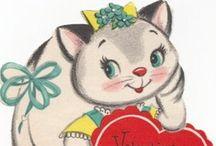 Be My Vintage Valentine / Vintage Valentine's Day decorations, vintage love, red, pink, cherubs, and pretty little vintage things.