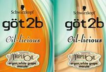 göt2b oil-licious / Featuring: calm & shine STYLING OIL, opulent smooth SHAMPOO + opulent smooth CONDITIONER.  / by göt2b