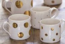 LUNA Gold / Hand thrown tableware hand decorated with gold lustre spots and stripes. Many varying shapes, sizes and designs.