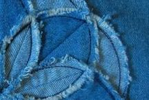 Applique / Applique with those small leftover pieces of fabric.