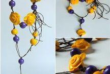 Crochet wire & polymer clay, DonikArt / Crochet wire jewelry , knit wire jewelry, polymer clay jewelry