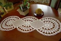 My needlework / crochet tablecloth, tops,curtains,ponchos,shawl
