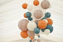 wedding hanging decorations / Paper lanterns, balloons, & backdrops.