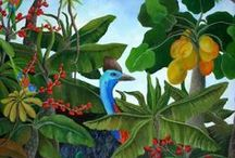 Johanna Hildebrandt / Johanna's collection of lush tropical landscapes, painted in acrylics is both vibrant and enigmatic. Johanna studied fine art at the German art school Fachschule für Bildhauerei in Oberammergau, before moving to Australia at the age of nineteen in the 1970s.