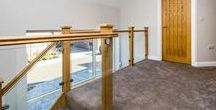 Glass Stair Balustrade Oak Staircases / #Contemporary #Stairs with #Glass and Oak stair parts, glass clamps and glass recessed into handrails. #Glassstairs #stairswithglass #oakstairswithglass