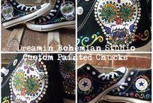 DBS: Custom Converse / Painted Shoes by Adrienne Williamson of Dreamin Bohemian Studio.  www.dreaminbohemian.com  facebook.com/dreaminbohemian etsy.com/shop/dreaminbohemian