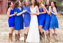 Wedding / September 13th, 2014   Bridesmaids- Deep Sky Blue Dresses And Boots Groomsmen- Long Sleeve Button Up Shirts, Dark Jeans, And Boots Location- Brahnam Farms Arena  / by Tracy Ladd