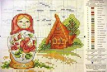 cross stitch russian dolls / by Jeanette Moffat