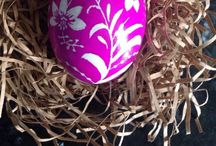 Arts and craft / Hand painted goose eggs with hot wax and dyed