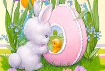 EASTER BUNNY EGGS AND DUCKLINGS