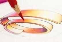 Inspiration / Ce tableau montre des sources d'inspirations, des dessins de graphistes, des brouillons ou encore des logos de créateurs.