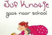 Juf Knotje gaat naar school / Een vrolijk voorleesboek voor kinderen van groep 1 en 2.  Juf Knotje gaat voor het eerst naar school. Ze weet nog niet zo goed hoe het allemaal werkt in de kleutergroep. Ze deelt niet, valt van haar stoel en glijdt door de gang. Gelukkig is daar Juf Krul en zij zorgt dat het allemaal goed komt.