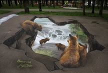3D Pavement or Building Art / Artwork done in 3D using any medium and on the street, on the side of a building or inside a building. / by April Glen