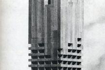 Brutalist Architecture / A mixture of Post-War Brutalism, Soviet and Utilitarian architecture.