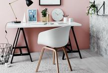 Blush HQ / Rose gold inspired home office décor.